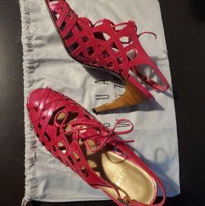 """Stuart Weitzman fuschia high heel """"cage"""" sandals"""